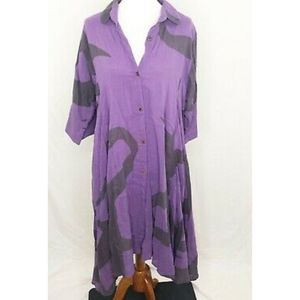 Yasuko Womens M/L Dress Purple Lagenlook Tunic Art